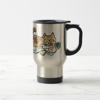 Rolling the Green Yarn Ball by Tiger Kitty 15 Oz Stainless Steel Travel Mug