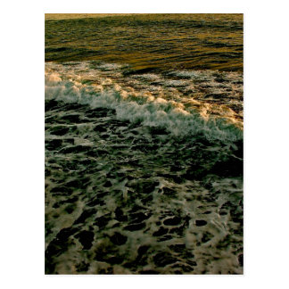 ROLLING WAVES AT SUNSET AT THE PACIFIC OCEAN POSTCARD