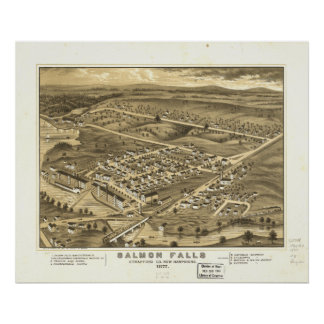 Rollinsford New Hampshire 1877 Antique Panorama Poster