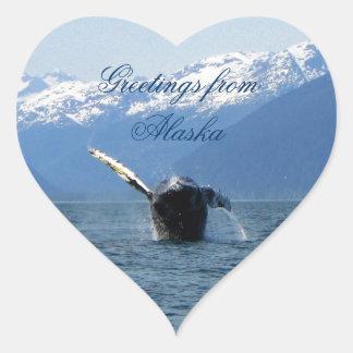 Rollo de barril del Humpback; Recuerdo de Alaska Calcomanía De Corazón