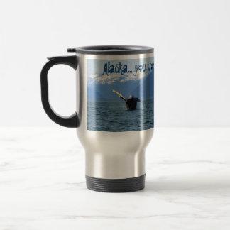 Rollo de barril del Humpback; Recuerdo de Alaska Taza De Viaje De Acero Inoxidable