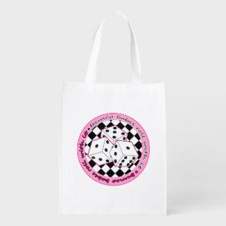 Rollo de los bebés de Bunco con él - rosa Bolsa Reutilizable