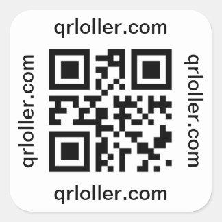 Rollo de Rick del código de QR al número de teléfo Calcomanía Cuadradas