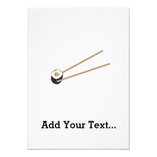 """Rollo de sushi con los palillos invitación 5"""" x 7"""""""
