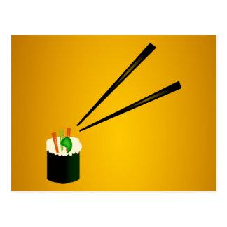 Rollo de sushi lindo en esquina con los palillos postal