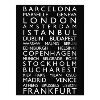 Rollo del autobús de las ciudades de Europa Cojinete