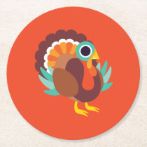 Rollo the Turkey Round Paper Coaster