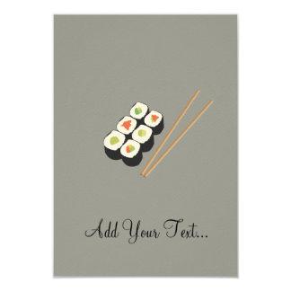 """Rollos de sushi con los palillos invitación 3.5"""" x 5"""""""