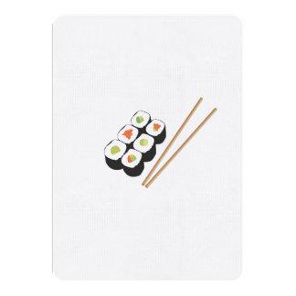 """Rollos de sushi con los palillos invitación 5"""" x 7"""""""
