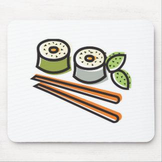 rollos de sushi y palillos alfombrilla de ratones