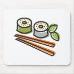 rollos de sushi y palillos tapetes de ratones