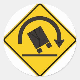 Rollover Hazard Highway Sign Classic Round Sticker