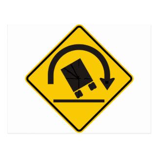 Rollover Hazard Highway Sign Postcard