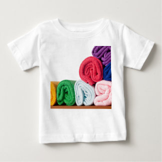 Rolls of colorful microfiber towels tshirt