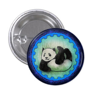 Rolly Polly Friendly Panda Pal in Blue Pinback Button