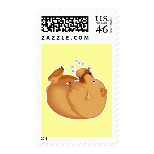 roly poly honey bear postage stamp