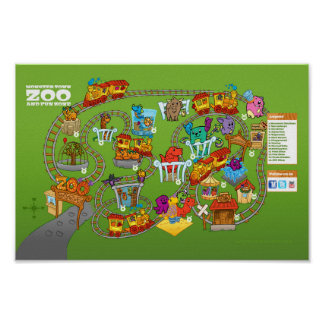 """Roly-Poly Monster """"Zoo Map"""" Poster (12""""x8"""")"""