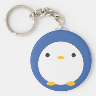 Roly Poly Penguin Basic Round Button Keychain