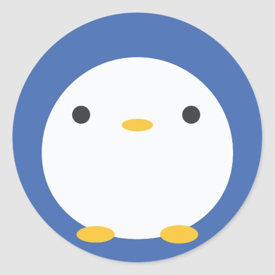 Roly Poly Penguin Classic Round Sticker