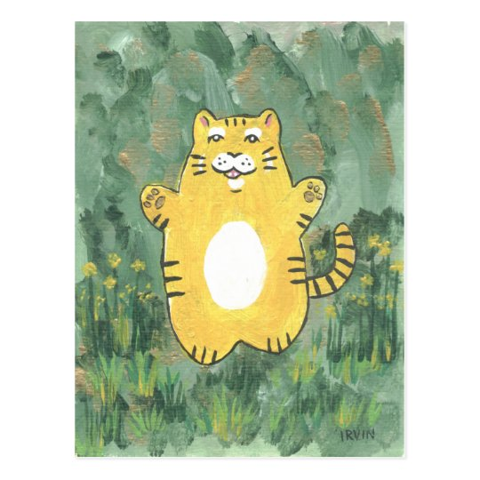 Roly Poly Tiger Postcard