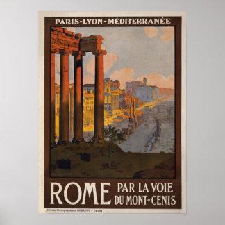 Roma a través del poster del viaje de Mont-Cenis