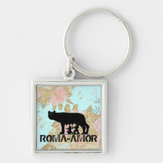 Roma Amor Silver-Colored Square Keychain