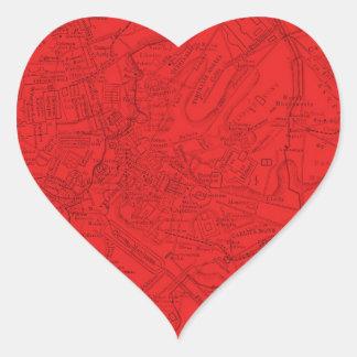 Roma antigua en rojo pegatina en forma de corazón