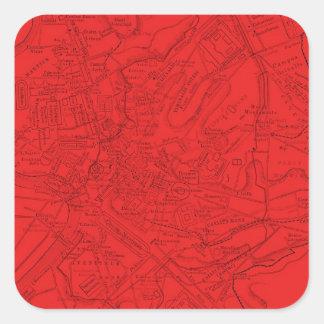 Roma antigua en rojo pegatina cuadrada