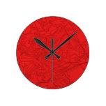 Roma antigua en rojo reloj redondo mediano