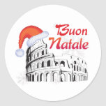 Roma Buon Natale Pegatina Redonda