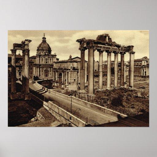 Roma, camino a través del foro póster