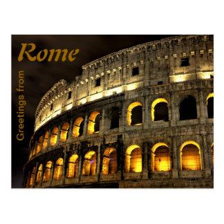 Roma - coliseo en la noche tarjeta postal