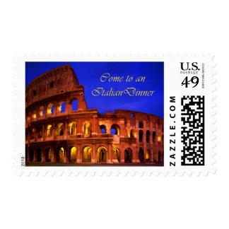 Roma Colosseum en la cena del italiano de la noche Sellos
