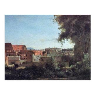 Roma Colosseum y jardines de Farnese, por Corot Je Postal