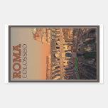 Roma - Colosseum y la luna Pegatina Rectangular