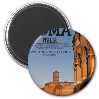 Roma - Colosseum y templo de Venus Imán Redondo 5 Cm