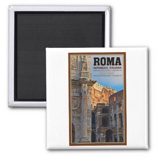 Roma - el arco de Constantina y del Colosseum Imán Cuadrado