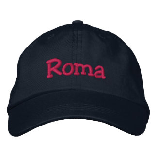 Roma Embroidered Baseball Cap Navy Hot Pink
