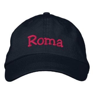 Roma Embroidered Baseball Cap Navy Hot Pink