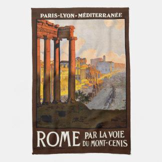 Roma en el poster 1920 del viaje de Voie del La de Toallas De Mano