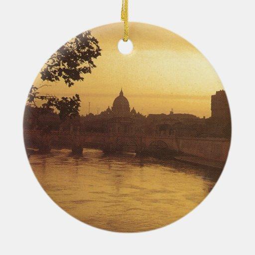 Roma en la puesta del sol, el río Tíber y San Pedr Ornamentos Para Reyes Magos