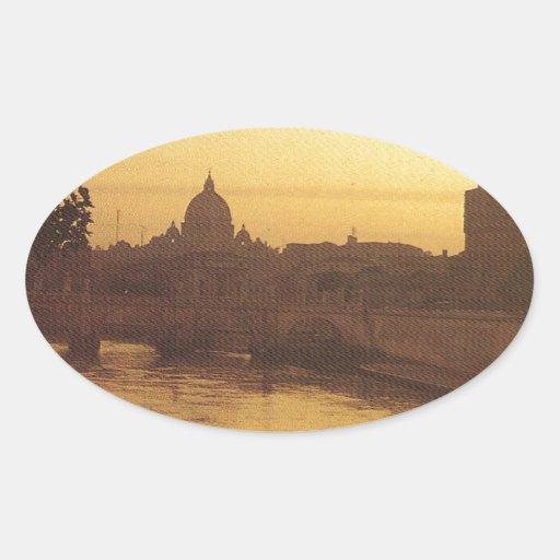 Roma en la puesta del sol, el río Tíber y San Pegatina Ovalada