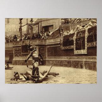 Roma, gladiadores en el Colosseum Póster