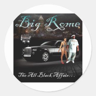 Roma grande - todo el asunto negro - cubierta del pegatina redonda