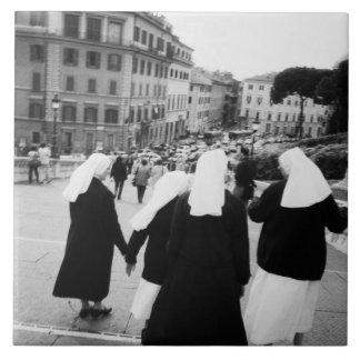 ¡Roma Italia, patrulla de la monja! (NR) Azulejo Cuadrado Grande