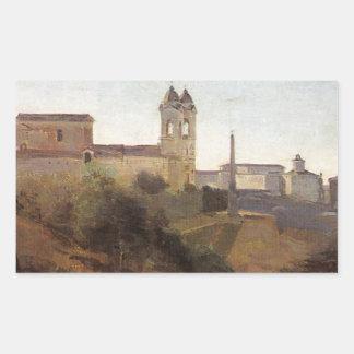 Roma, la opinión de Monti del dei de Trinita de Pegatina Rectangular