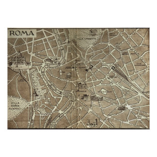 Roma, mapa, 1900 póster