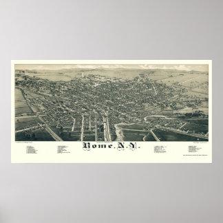 Roma, mapa panorámico de NY - 1886 Póster
