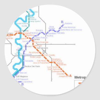 Roma Metro Map Classic Round Sticker