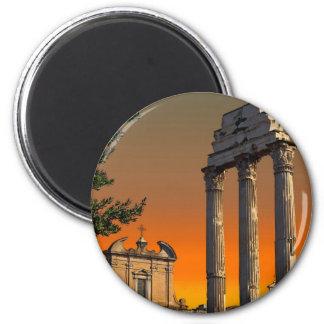 Roma - ruinas del templo en el foro Romanum Imán Redondo 5 Cm